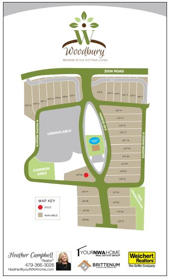 Woodbury cottage home lot layout